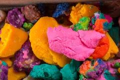 Massa colorida seca do jogo nas partes Imagem de Stock