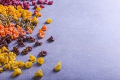 Massa colorido da forma incomum com as tinturas vegetais naturais, dispersada na tabela close up do fundo foto de stock