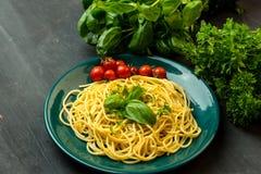 A massa com ervas, manjericão e tomates serviu na pasta verde imagens de stock royalty free