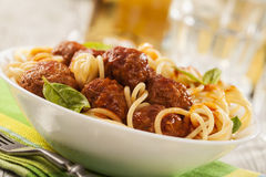 Massa com meatballs Imagem de Stock Royalty Free