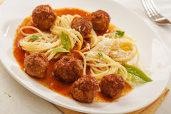 Massa com meatballs Foto de Stock Royalty Free