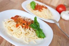 Massa com molho de tomate Fotografia de Stock