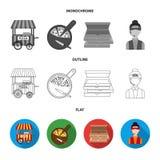 Massa da pizza, forno, pizaria que constrói, espátula para boletos A pizza e a pizaria ajustaram ícones da coleção no plano, esbo Fotografia de Stock