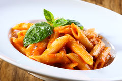 Massa de Penne no molho de tomate Foto de Stock Royalty Free