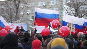 Massa die collectieve boycot tegen valse verkiezingen van de Voorzitter van de Russische Federatie, Novosibirsk Februari ontmoete stock video