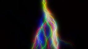 Massa die kleurrijke bliksem overal slaan stock footage