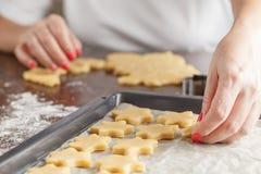 Massa do cozimento do Natal, cortadores da cookie, especiarias e porcas Fotos de Stock Royalty Free