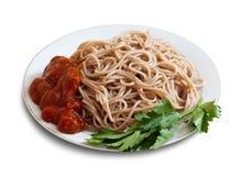 Massa dos espaguetes com ketchup na placa Fotografia de Stock