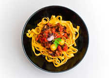 Massa dos tagliatelle com molho de tomate 2 do alimento de mar Imagens de Stock Royalty Free