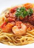 Massa italiana - espaguete do camarão imagem de stock royalty free