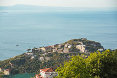 Massa Lubrense and landscape of Sorrento`s peninsula. And gulf, with island of Capri Naples, Italy Royalty Free Stock Image