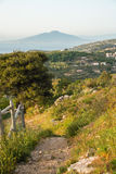 Massa Lubrense and landscape of Sorrento`s peninsula. Landscape of sorrento`s peninsula and gulf, Naples, Italy Royalty Free Stock Photo