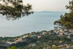 Massa Lubrense and landscape of Sorrento`s peninsula. Landscape of sorrento`s peninsula and gulf, Naples, Italy Royalty Free Stock Images