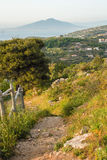 Massa Lubrense and landscape of Sorrento`s peninsula. Landscape of sorrento`s peninsula and gulf, Naples, Italy Stock Images