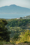 Massa Lubrense and landscape of Sorrento`s peninsula. Landscape of sorrento`s peninsula and gulf, Naples, Italy Royalty Free Stock Photos