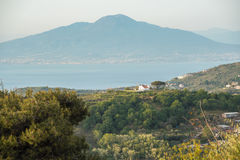 Massa Lubrense and landscape of Sorrento`s peninsula. Landscape of sorrento`s peninsula and gulf, Naples, Italy Stock Photography