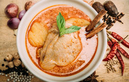 Massa man Curry with herbs a. Massa man chicken curry with herbs and toppings Stock Image