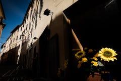 MASSA MARITTIMA, ITALIEN - Maj 14, 2017: medeltida stad i Italien Arkivbilder
