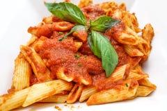 Massa massa-italiana saboroso do molho da carne Fotografia de Stock