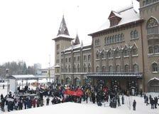 Massa-ontmoet aan opposities in Saratov. Stock Afbeelding