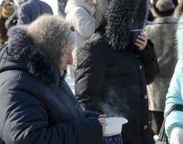 Massa-ontmoet in Saratov Royalty-vrije Stock Fotografie