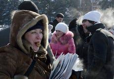 Massa-ontmoet in Saratov Royalty-vrije Stock Afbeeldingen