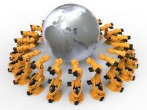 Massa productierobots wereldwijd royalty-vrije illustratie