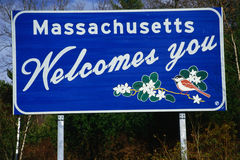 Massachusettes Welcome To Sign Royalty Free Stock Images