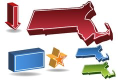 Massachusetts 3D. Set of 3D images of the State of Massachusetts with icons Stock Photo