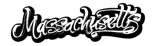 massachusetts autoadesivo Iscrizione moderna della mano di calligrafia per la stampa di serigrafia Immagini Stock