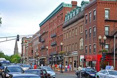 Massachusetts Avenue in Cambridge, Boston, USA royalty free stock images