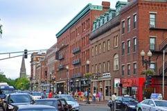Massachusetts Avenue in Cambridge, Boston, USA. Historic Buildings on Massachusetts Avenue at Harvard University, Cambridge, Boston, Massachusetts, USA Royalty Free Stock Images