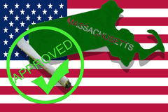 Massachusetts on cannabis background. Drug policy. Legalization of marijuana on USA flag, Royalty Free Stock Photography