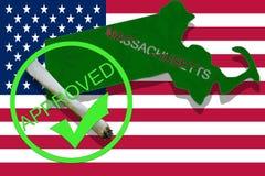 Massachusetts on cannabis background. Drug policy. Legalization of marijuana on USA flag, Royalty Free Stock Photography