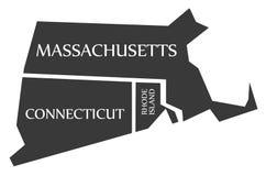 Massachusetts - Connecticut - Rhode Island Map identificato neri Immagini Stock
