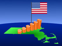 Massachusetts Dollar graph  Royalty Free Stock Photos