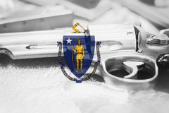 Massachusetts flag U.S. state Gun Control USA. United States. Gun Laws Royalty Free Stock Photo