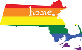 Massachusetts gay pride vector state sign. LGBT community pride vector U.S. state decal: easy-edit layered vector EPS10 file scalable to any size without quality stock illustration