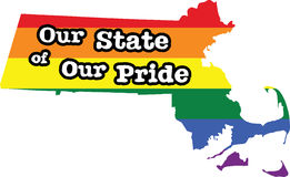 Massachusetts gay pride vector state sign. LGBT community pride vector U.S. state decal: easy-edit layered vector EPS10 file scalable to any size without quality royalty free illustration