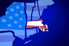 Massachusetts MA USA United States America Flag Map Stock Images