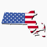 Massachusetts map flag Stock Photo