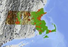 Massachusetts, mapa de relevo Ilustração Stock
