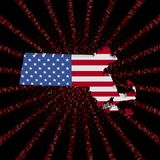 Massachusetts mapy flaga na czerwonej hex kodu wybuchu ilustraci Zdjęcia Royalty Free