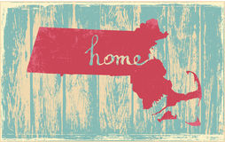Massachusetts nostalgic rustic vintage state vector sign Royalty Free Stock Photography