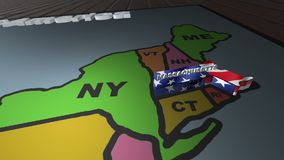 Massachusetts pull out from USA states abbreviations map. State Massachusetts pull out from USA map with american flag on background. A map of the US showing the stock video footage