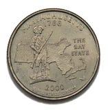 Massachusetts quarter dollar. Massachusetts United States collection quarter dollar Royalty Free Stock Photo