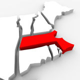 Massachusetts Red Abstract 3D State Map United States America. A red abstract state map of Massachusetts, a 3D render symbolizing targeting the state to find its Stock Photography