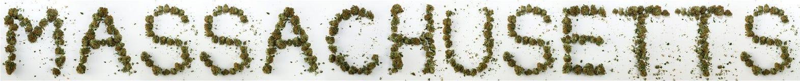 Massachusetts soletrou com marijuana Foto de Stock Royalty Free