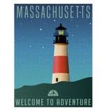 Massachusetts, Stany Zjednoczone podróży plakat lub bagażu majcher, royalty ilustracja