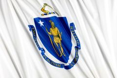 Massachusetts State flag Royalty Free Stock Photo
